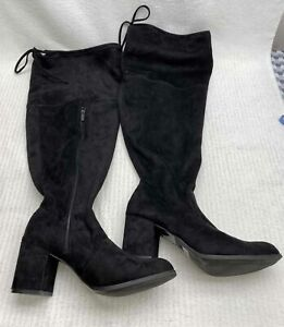 Torrid-Blk-Block-Heel-Women-039-s-13-Knee-High-Boots-NEW
