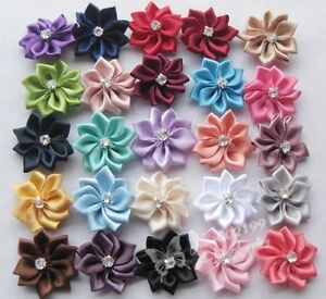 40pcs-U-pick-satin-ribbon-flowers-bows-with-Appliques-Craft-DIY-Wedding-E123