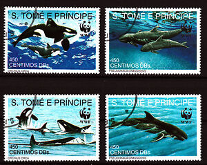 WWF Killer Whales set of 4 canceled stamps 1992 St. Thomas & Prince #1051-4