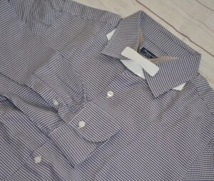 FINAMORE-1925-Napoli-Houndstooth-Brown-Blue-100-Cotton-Mens-Dress-Shirt-16-1-2