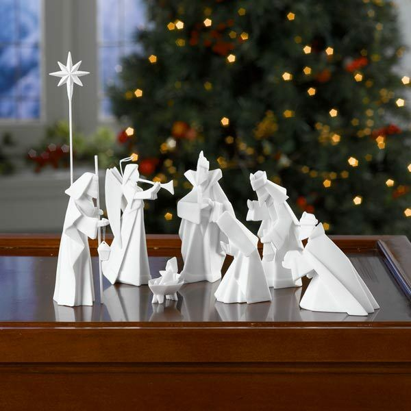 9 pc Porcelain Origami Nativity Set - Jesus Mary Wisemen More - Chrismas Décor