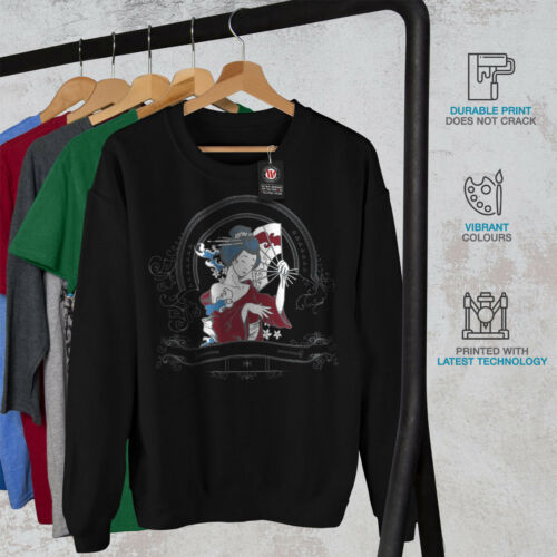 Japan Geisha Diva Sweatshirt Fantasy New Black Men H0r8dp8nqO