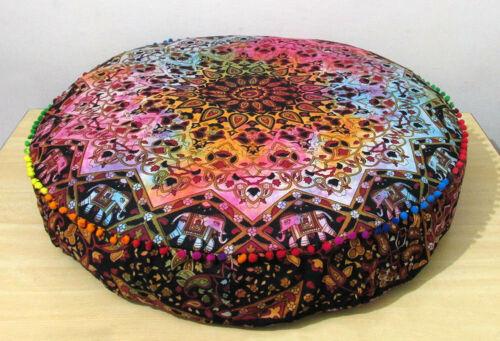 Multi Color Star Mandala Elephant Design Round Floor Cushion Cover 35 Inches Art