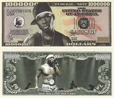 FREE SLEEVE Curtis Jackson III aka 50¢ Million Dollar Funny Money Novelty Note