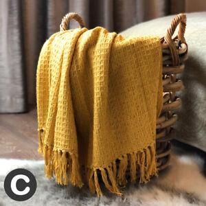 Luxury-Ochre-Yellow-Mustard-Waffle-Check-Throw-100-Cotton-Fringed-Bed-Sofa