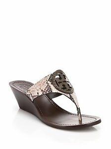 40f9bbe4202fec Image is loading NIB-Tory-Burch-LOUISA-Snakeskin-Embossed-Leather-Thong-