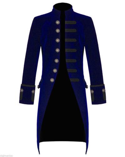 Giacca da uomo steampunk Frac Velluto Blu Gotico Vittoriano palandrana