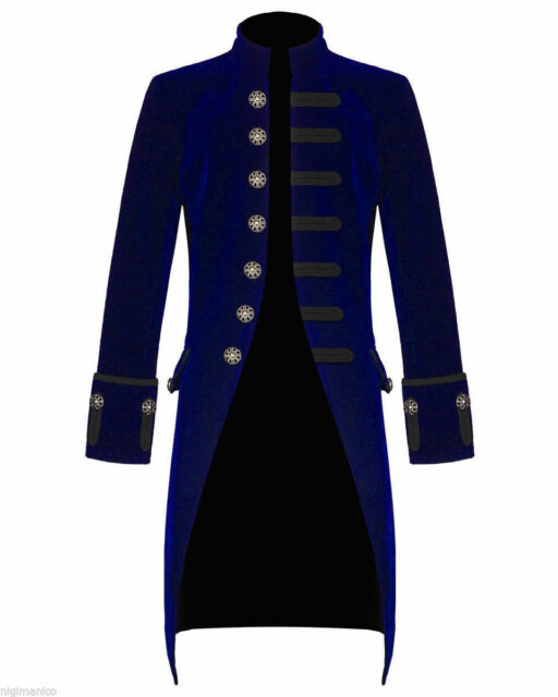 MENS STEAMPUNK TAILCOAT JACKET BLUE VELVET GOTHIC VICTORIAN FROCK COAT