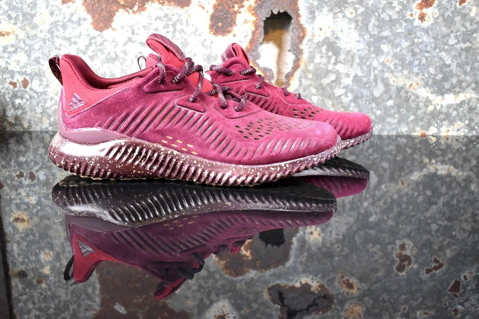 Adidas Men's AlphaBounce Suede Leather Shoes Maroon CQ1189 - Multiple Sizes