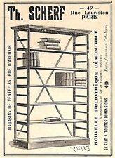 "PARIS RUE LAURISTON "" BIBLIOTHEQUES TH. SCHERF "" PETITE PUBLICITE 1899"