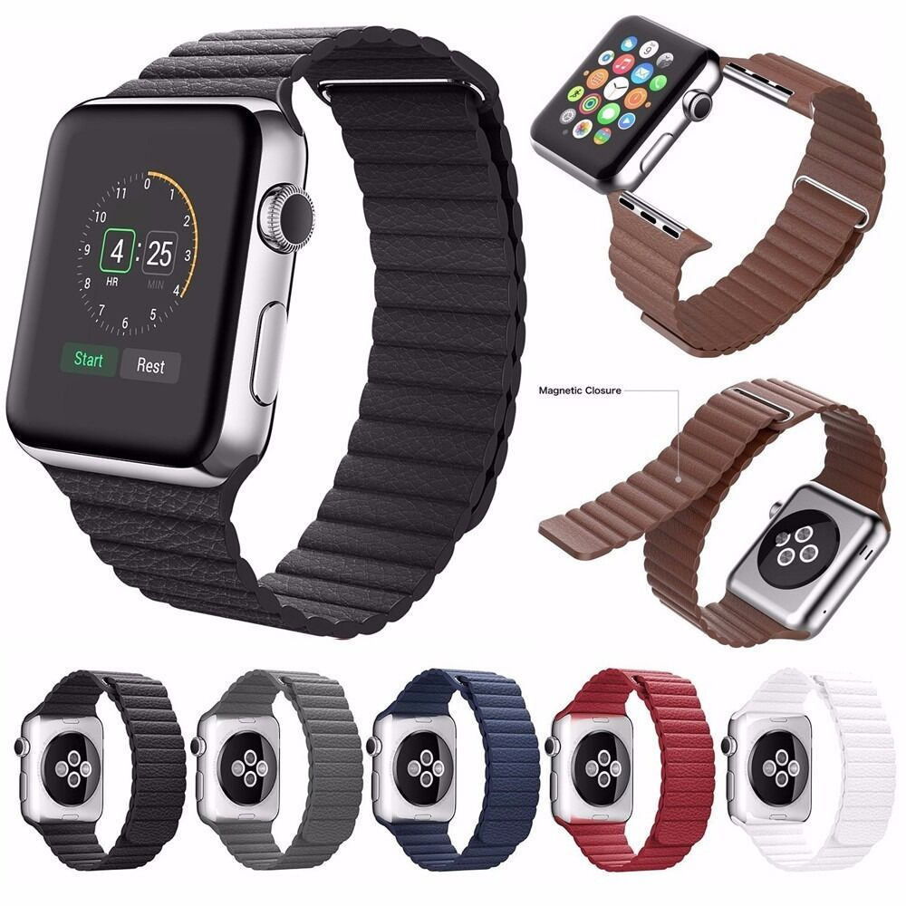 7 Color Genuine Leather Loop Magnetic Watch Band For Apple ...