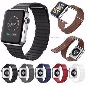 Genuine Leather Loop Magnetic Watch Band For Apple Watch Se 6 5 38 40mm 42 44mm Ebay