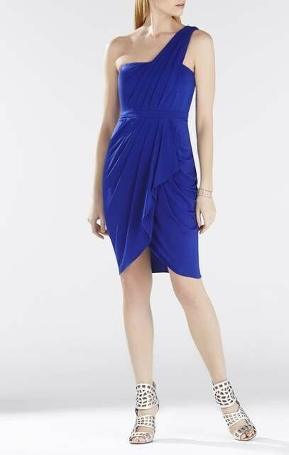 New Women Bcbg max azria Julieta One-Shoulder Ruched Dress Royal bluee SZ 2