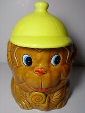 Vintage 1960s MONKEY WEARING A YELLOW HAT HOME DECOR COOKIE JAR WITH LID JAPAN