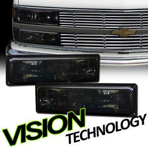 Smoke-Tint-Signal-Bumper-Lights-Parking-Dy-For-88-94-00-GMC-C10-Ck-Sierra-Yukon