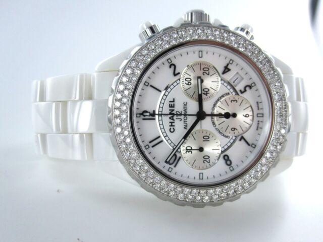 CHANEL J12 WATCH CHRONOGRAPH WHITE CERAMIC 118 DIAMOND 41MM DESIGNER H1008