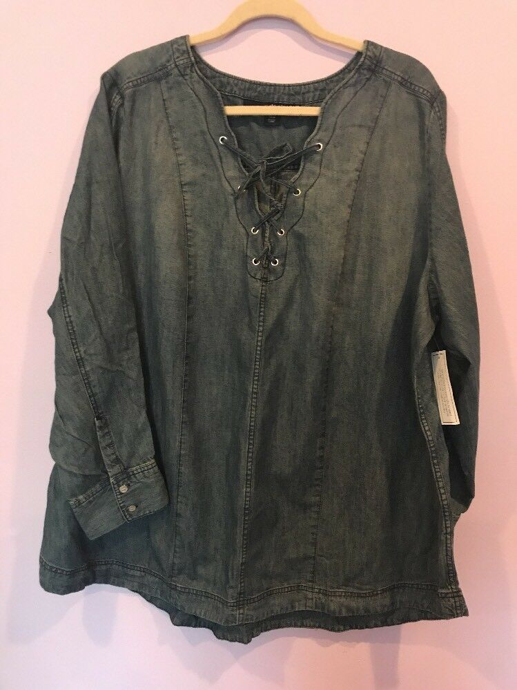 Denim 24 7 Cotton Long Sleeve  Denim  bluee Shirt Plus Size  Blouse Top 26W New