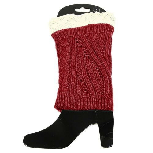 Red and Cream Leg Warmer 9/""