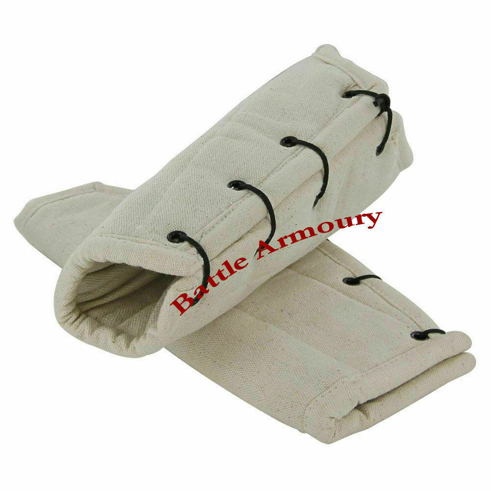 White Cotton Arm Protector Padded Bracers Medieval Renaissance Costume SCA