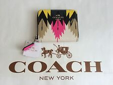 NWT COACH Crossgrain Leather Zip Around Coin Case MultiColor Print F52787 $105