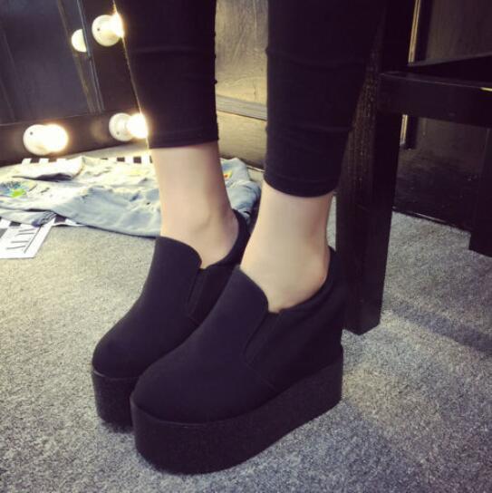 Women's Round Toe Platform Slip On Creeper Chunky Heel Athletic Sneakers Shoe