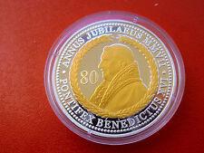 *Silber Münze/Medaille (ca.22 gr. mit Gold Oplic.) PP* Papst Benedictus XVI.