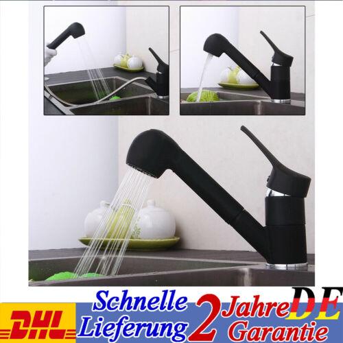 Küchenarmatur Wasserhahn Einhebel Spültischarmatur mit Ausziehbar Brause Schwarz