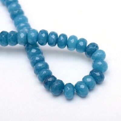 30 Achat Perlen Natur Schmucksteine Lapis Blau 4mm Rondelle Edelstein G794