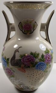 Double Handled Vintage Peacock Floral Vase Chinoiserie Pink Blue Green  Gold