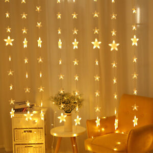 Twinkle Static 2M 138 LED Star Window Christmas Party Wall Curtain Fairy Lights