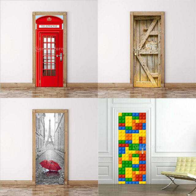 3D Building Blocks Door Wall Mural Stickers Removable Decals for Home Decor
