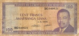 Other African Paper Money Rational Burundi 100 Francs 1.5.1979 P 29a Series Bg Circulated Banknote Af418m Carefully Selected Materials