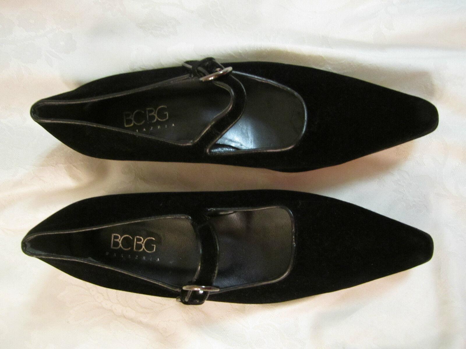 BCBG Max Azria Black Velvet Pointed Toe Mary Jane Made in  6.5 M NWOB