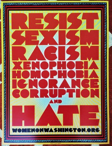 Chuck Sperry Resist 2017-2-Sided Poster Women/'s March On Washington DC WOW