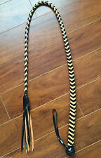 Black & Tan Leather Quirt Crop flogger Cosplay BullWhip Whip 55 in. sku WF-X88
