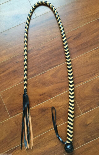 sku WF-X88 Black /& Tan Leather Quirt Crop flogger Cosplay BullWhip Whip 55 in