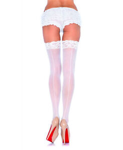 Nude-White-Red-Lace-Top-Seamed-Sheer-Stockings-Leg-Avenue-1101-Bridal