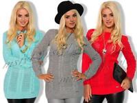 Damen Strickpullover Pulli Sweatshirt Pullover S M  Neu Winter Tunika