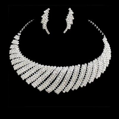 Bridal Bridesmaid Wedding Party Crystal Rhinestone Necklace Earring Jewelry Set