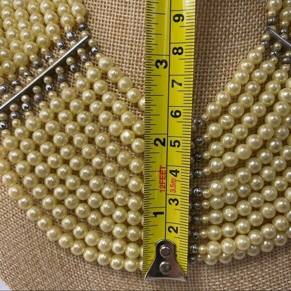 Vintage synthetic Pearl bib style necklace multi … - image 3