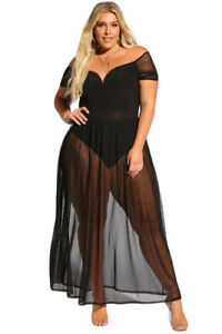 95f263fa38 Details about Women Plus Size Off Shoulder Bodysuit Long Party Club Dress Cover  up Bottom