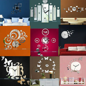 3d Modern Design Frameless Large Wall Clock Diy Home Decor Watches Hours