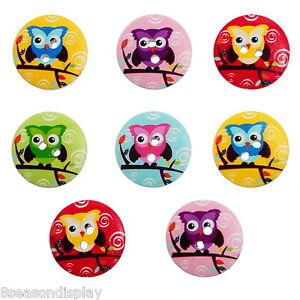 50PCs 2 Holes Mixed Cartoon Owl Wooden Buttons Sewing Scrapbook 20mm 6/8in. dia.