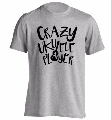Crazy ukulele player t-shirt play strum music musician banjo fan club funny 3976