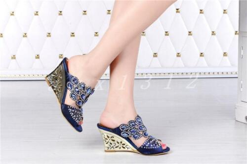 New Womens Open Toe Rhinestone High Wedge Heel Slippers Party Dress Sandal Shoes