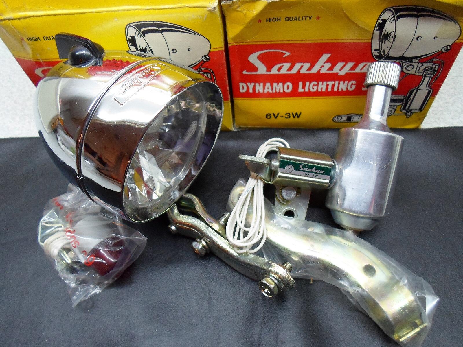 Vintage Bicycle Dynamo Lighting set SANKYO 6V-3W made in Japan N.O.S  1970