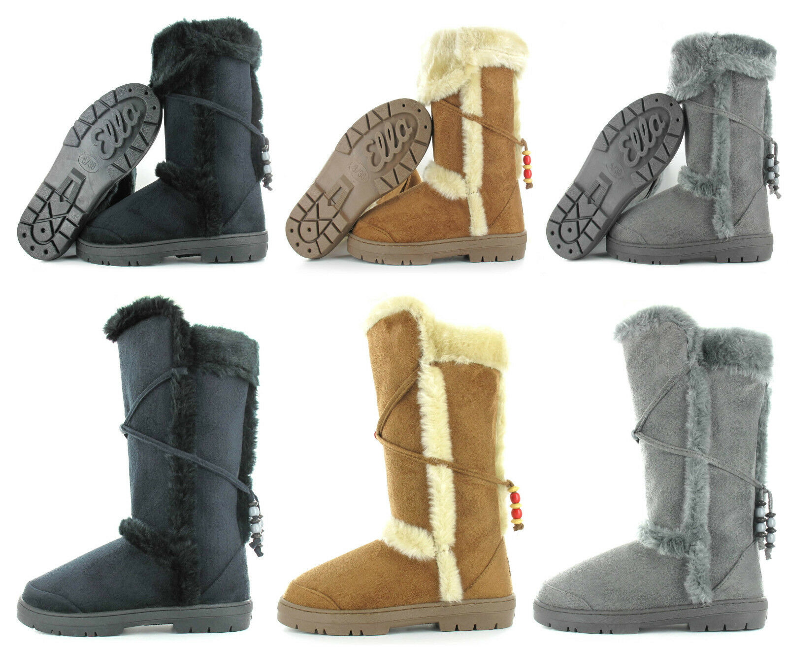 ELLA SHOES TILLYNEW WOMENS MID CALF WINTER FUR BOOTS LADIES UK SIZE 3-8