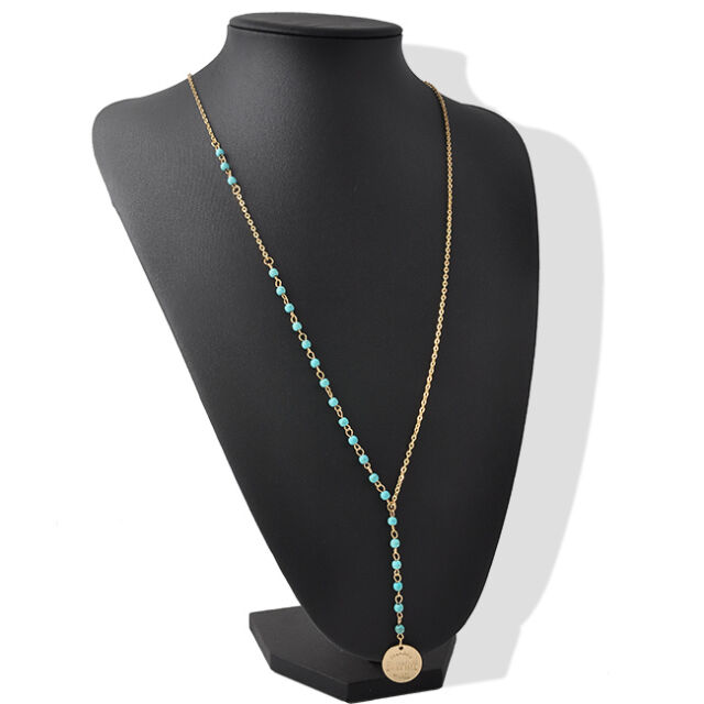 Beautiful Green Turquoise Gold Coin Tassel Pendant Nice Hand-beaded Necklace NEW