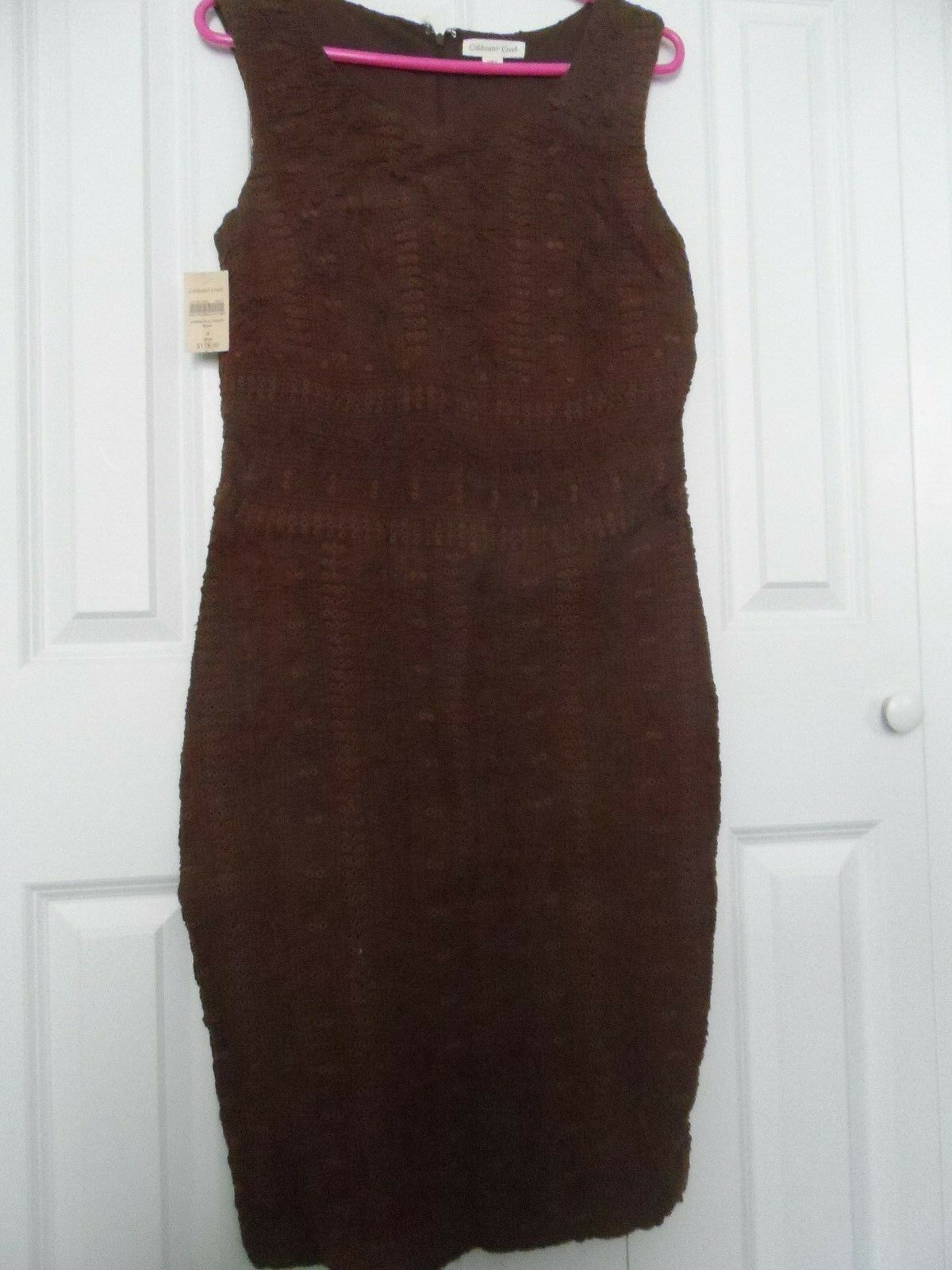 NEW Woman's Größe 8 Coldwater Creek Texturot braun Weave Lined Sleeveless Dress