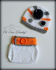 Baby BB-8 Sci-Fi Crochet Hat & Diaper Cover Crochet Star Wars Hat-Crochet Beanie